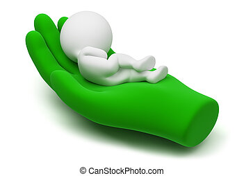 3d small people lying on a careful hand of the world. 3d image. Isolated white background.