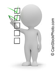 3d small people marking ticks in the checklist. 3d image. Isolated white background.