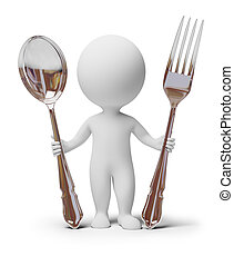 3d small people with a spoon and a fork. 3d image. Isolated white background.