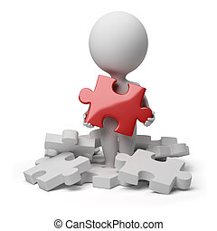 3d small person a holding over red brilliant puzzle. 3d image. Isolated white background.