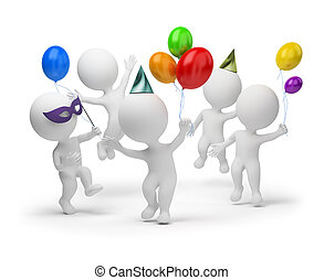 3d small people joyfully celebrating a holiday. 3d image. Isolated white background.