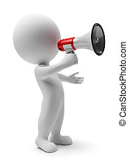 3d small people with a megaphone in a hand. 3d image. Isolated white background.