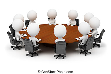 3d small people - session behind a round table. 3d image. Isolated white background.