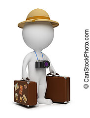 3d small people - tourist with suitcases and the camera. 3d image. Isolated white background.