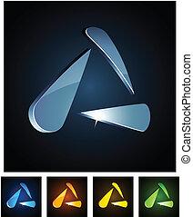 Vector illustration of 3d shiny triangle.