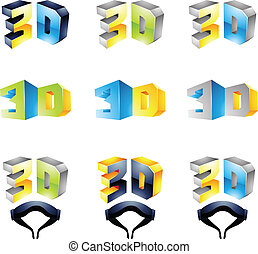 3D Viewing Experience logos isolated on a white background