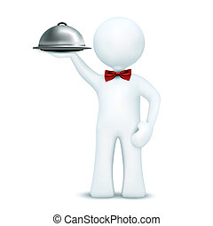 illustration of 3d character holding serving tray on an isolated white background