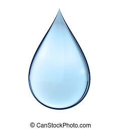 3D water drop on white isolated with clipping path