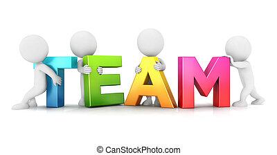 3d white people team