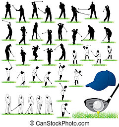 40 Detailed Golf vector silhouettes