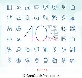 40 Trendy Thin Icons Set 14