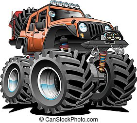 Awesome cartoon illustration of a lifted 4x4 Off Road vehicle cartoon illustration, orange with huge tires, big rims, lots of gear ready for the dirt. Hand-drawn and Illustrated by Jeff Hobrath.