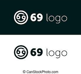 69 Logo Icon Design. Letter, Number, Illustration - Vector
