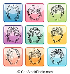 9 Hairstyle Buttons Set