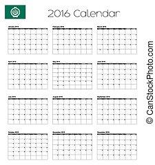 2016 Calendar with the Flag of Arab League