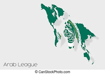 3D Isometric Flag Illustration of the country of Arab League