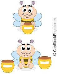 a baby bee with honey