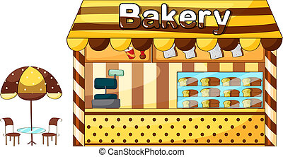 Illustration of a bakery shop on a white background