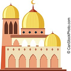 A beautiful mosque on white background