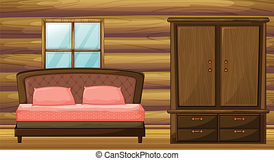 Illustration of a bed and a wardrobe in a room