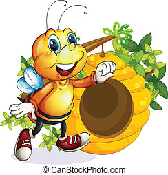 A bee near the beehive