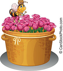 A bee with a pot of honey flying above the basket with flowers