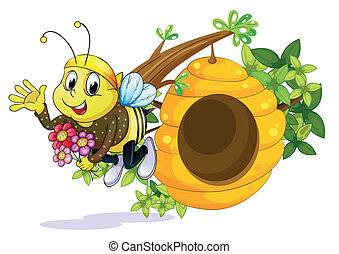 Illustration of a bee with flowers near the beehive on a white background