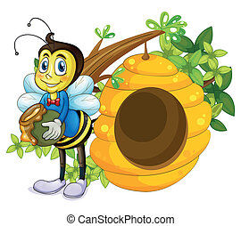 A beehive beside the bee