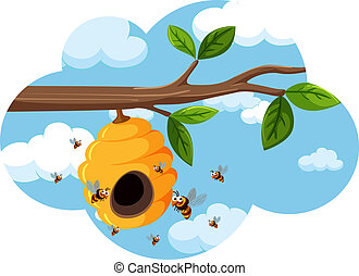 A beehive on the tree branch