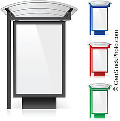 A billboard at a bus stop in different colors. Illustration on white background