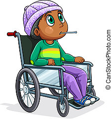 Illustration of a Black man riding on a wheelchair on a white background