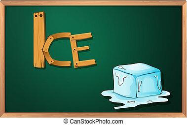 A blackboard with an ice