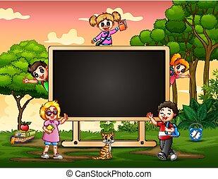 A blackboard with happy children