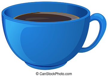 Illustration of a blue cup with coffee on a white background