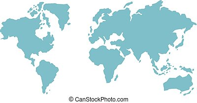 A Blue World Map on White Background
