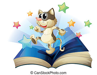 A book with a dancing cat