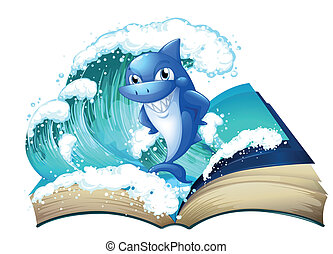 A book with a high wave and a big shark