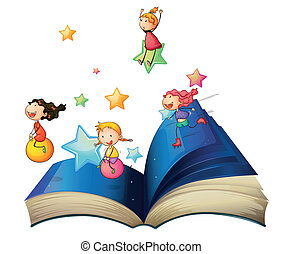 A book with children playing