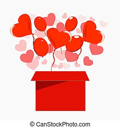 A box from which balls and hearts fly out