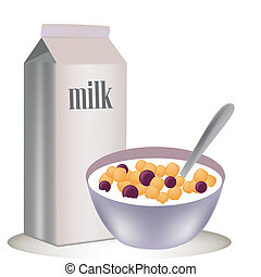 a box of cold milk and a cereal in a dish