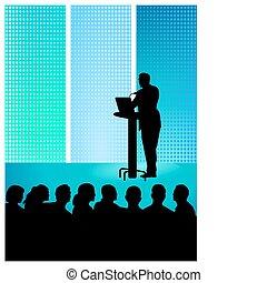 A businessman at a podium