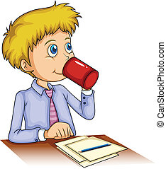 Illustration of a businessman drinking coffee on a white background