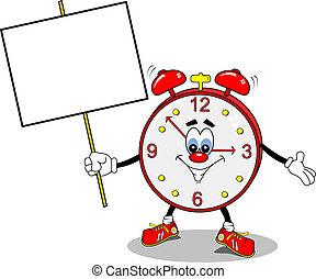 A cartoon alarm clock