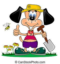 A cartoon dog gardening