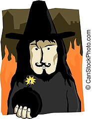 A cartoon illustration of Guy Fawkes holding a bomb.
