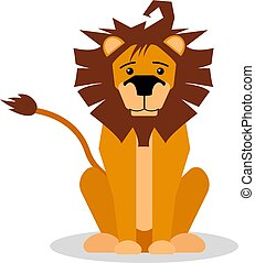 A cartoon vector illustration of a friendly lion sitting and forward facing. Lion character.
