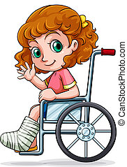 Illustration of a Caucasian girl sitting on a wheelchair on a white background