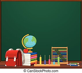 A chalkboard template with objects