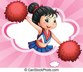 Illustration of a cheerleader inside a cloud