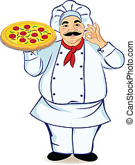A chef and pizza